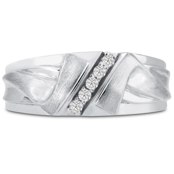 Mens 1/10 Carat Diamond Wedding Band in 10K White Gold, I-J-K, I1-I2, 8.60mm Wide by SuperJeweler