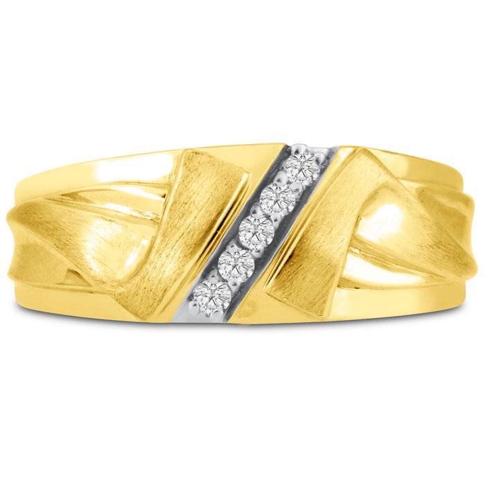 Mens 1/10 Carat Diamond Wedding Band in 10K Yellow Gold, I-J-K, I1-I2, 8.60mm Wide by SuperJeweler