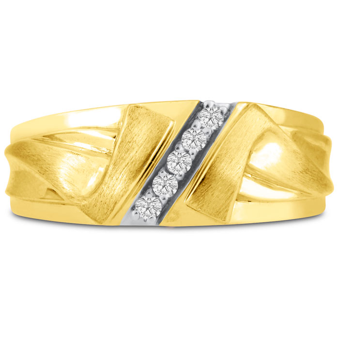 Mens 1/10 Carat Diamond Wedding Band in 14K Yellow Gold, I-J-K, I