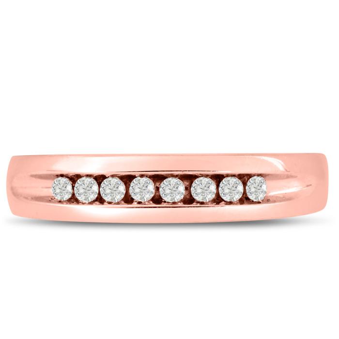 Mens 1/4 Carat Diamond Wedding Band in 10K Rose Gold, I-J-K, I1-I2, 4.78mm Wide by SuperJeweler