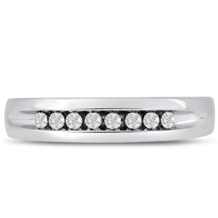 Mens 1/4 Carat Diamond Wedding Band in 10K White Gold, G-H, I2-I3, 4.78mm Wide by SuperJeweler