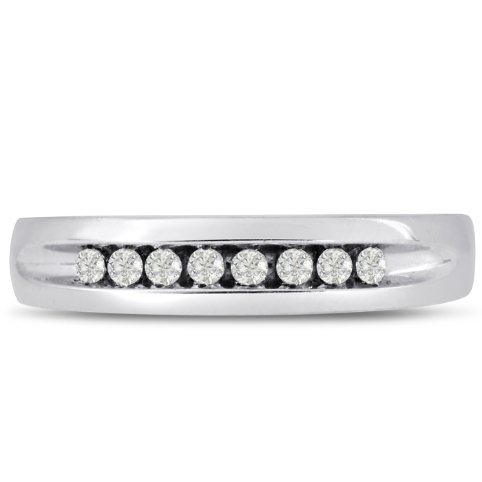Mens 1/4 Carat Diamond Wedding Band in 14K White Gold, I-J-K, I1-