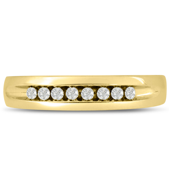Mens 1/4 Carat Diamond Wedding Band in 14K Yellow Gold, G-H, I2-I3, 4.78mm Wide by SuperJeweler