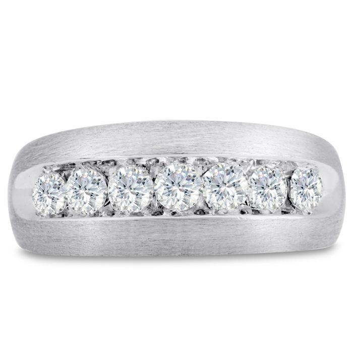 Mens 1 Carat Diamond Wedding Band in 10K White Gold, G-H, I2-I3, 9.40mm Wide by SuperJeweler