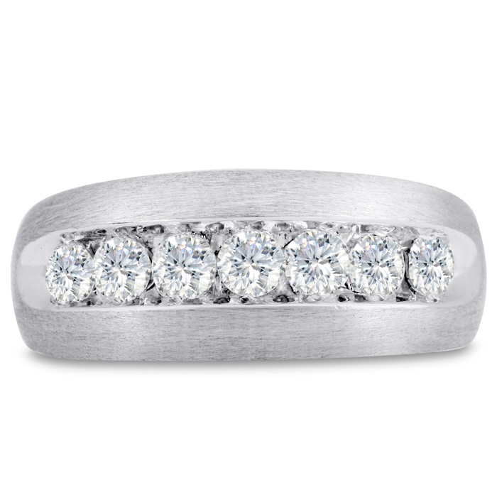 Mens 1 Carat Diamond Wedding Band in 14K White Gold, G-H, I2-I3, 9.40mm Wide by SuperJeweler