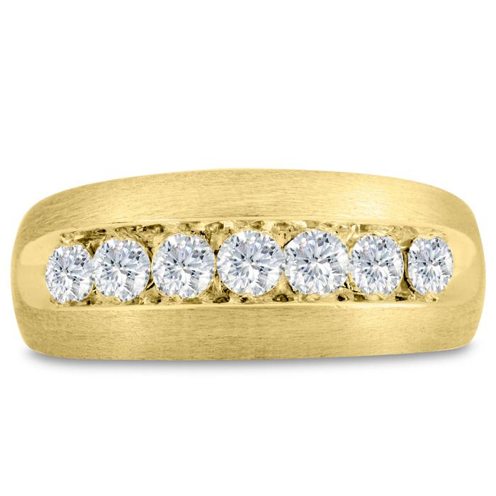 Mens 1 Carat Diamond Wedding Band in 14K Yellow Gold, I-J-K, I1-I2, 9.40mm Wide by SuperJeweler