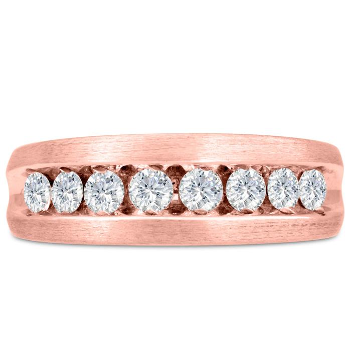 Mens 1 Carat Diamond Wedding Band in 10K Rose Gold, G-H, I2-I3, 7