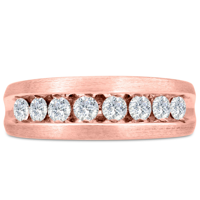 Mens 1 Carat Diamond Wedding Band in 14K Rose Gold, G-H, I2-I3, 7
