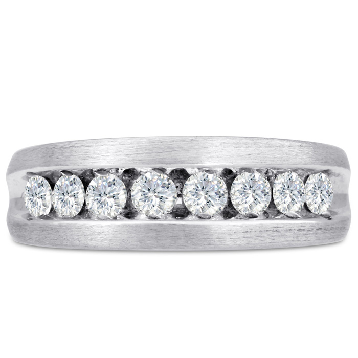Mens 1 Carat Diamond Wedding Band in 14K White Gold, I-J-K, I1-I2, 7.52mm Wide by SuperJeweler