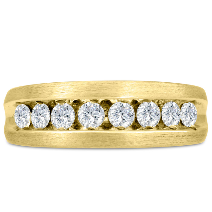 Mens 1 Carat Diamond Wedding Band in 14K Yellow Gold, I-J-K, I1-I2, 7.52mm Wide by SuperJeweler