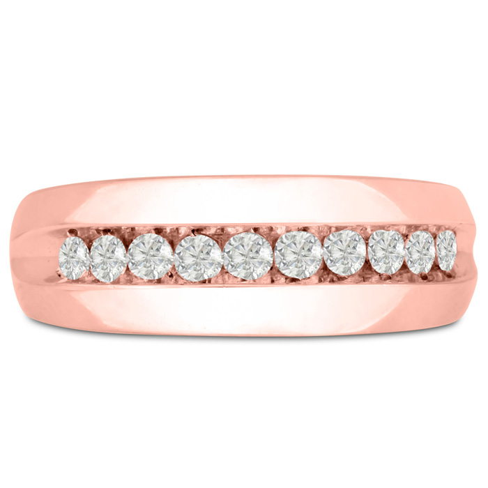 Mens 1/2 Carat Diamond Wedding Band in 10K Rose Gold, G-H, I2-I3, 7.80mm Wide by SuperJeweler