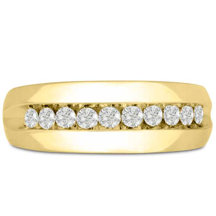 Mens 1/2 Carat Diamond Wedding Band in 10K Yellow Gold, G-H, I2-I3, 7.80mm Wide by SuperJeweler