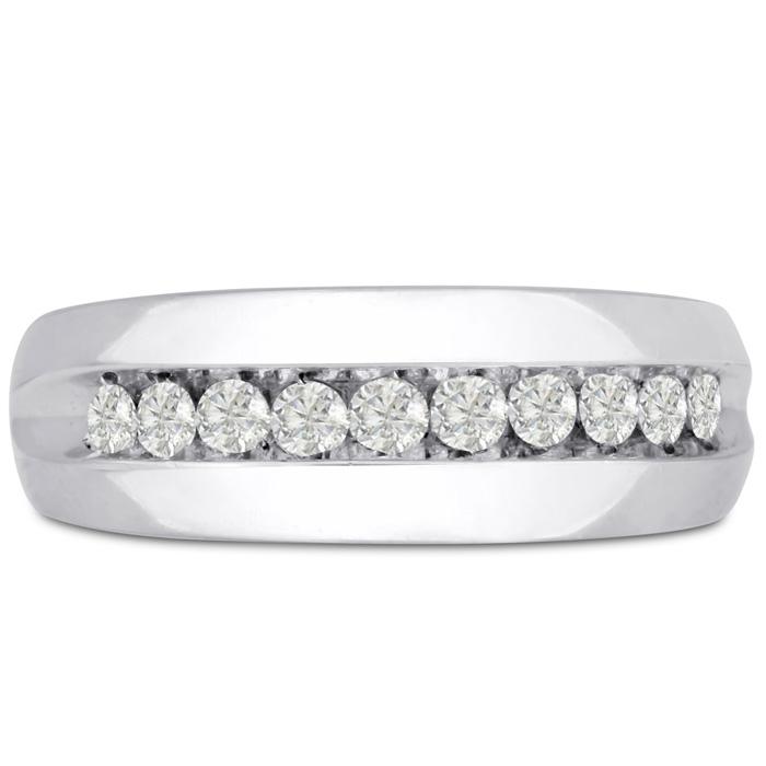 Mens 1/2 Carat Diamond Wedding Band in 14K White Gold, G-H, I2-I3, 7.80mm Wide by SuperJeweler