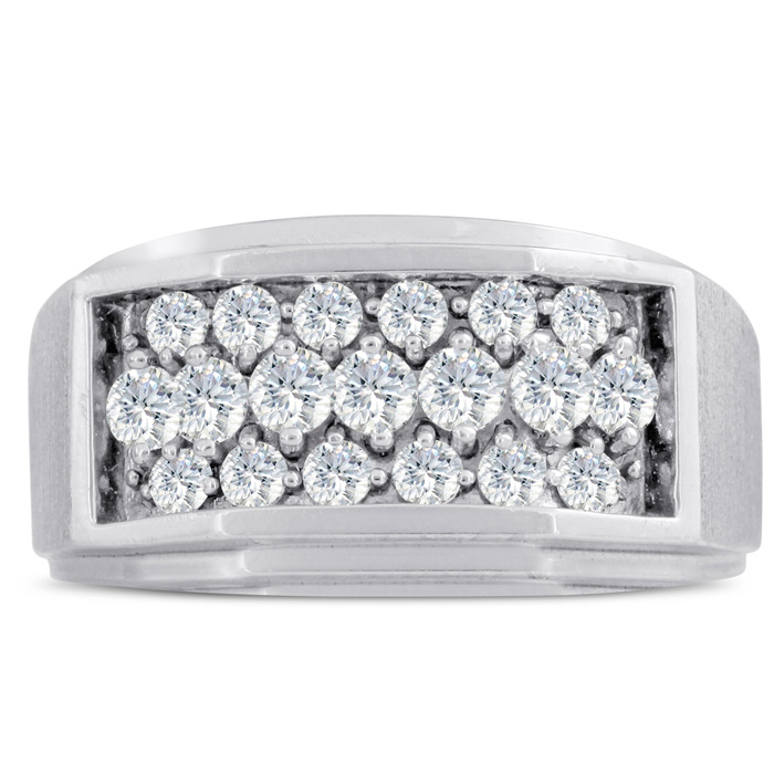 Mens 1 Carat Diamond Wedding Band in 10K White Gold, I-J-K, I1-I2, 11.73mm Wide by SuperJeweler