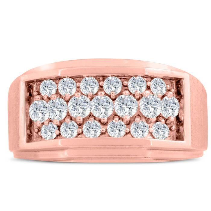 Mens 1 Carat Diamond Wedding Band in 14K Rose Gold, G-H, I2-I3, 11.73mm Wide by SuperJeweler