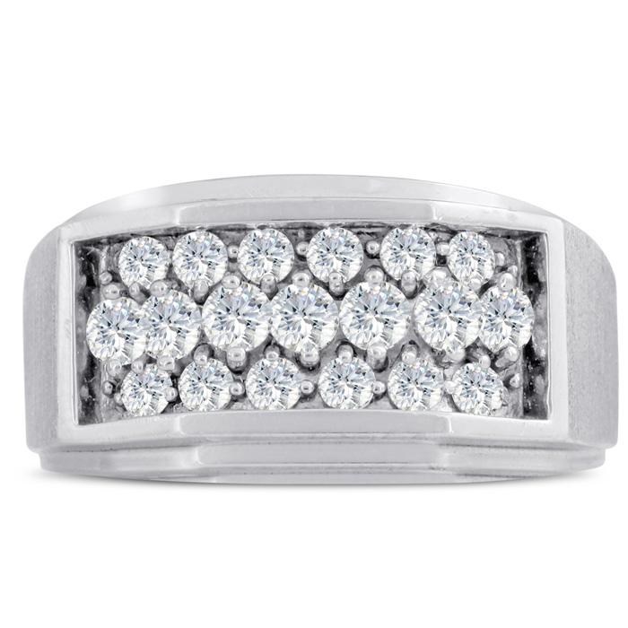 Mens 1 Carat Diamond Wedding Band in 14K White Gold, G-H, I2-I3, 11.73mm Wide by SuperJeweler