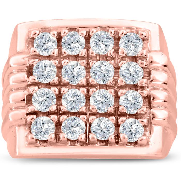 Mens 2 Carat Diamond Wedding Band in 14K Rose Gold, G-H, I2-I3, 1