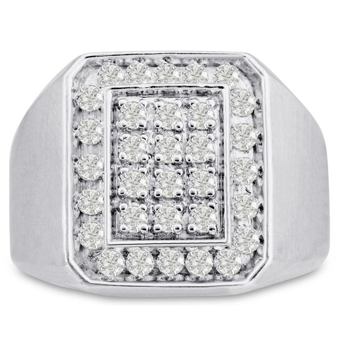Mens 1 Carat Diamond Wedding Band in 10K White Gold, G-H, I2-I3, 17.77mm Wide by SuperJeweler