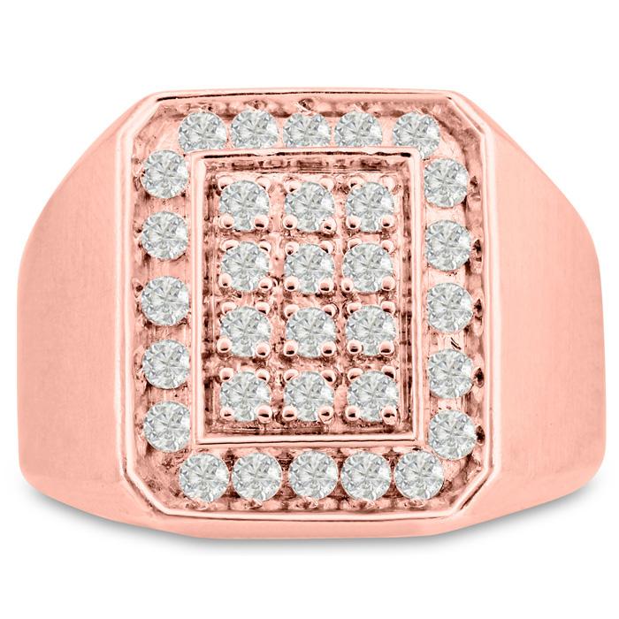 Mens 1 Carat Diamond Wedding Band in 14K Rose Gold, I-J-K, I1-I2, 17.77mm Wide by SuperJeweler