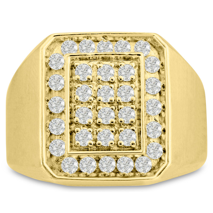 Mens 1 Carat Diamond Wedding Band in 14K Yellow Gold, I-J-K, I1-I2, 17.77mm Wide by SuperJeweler