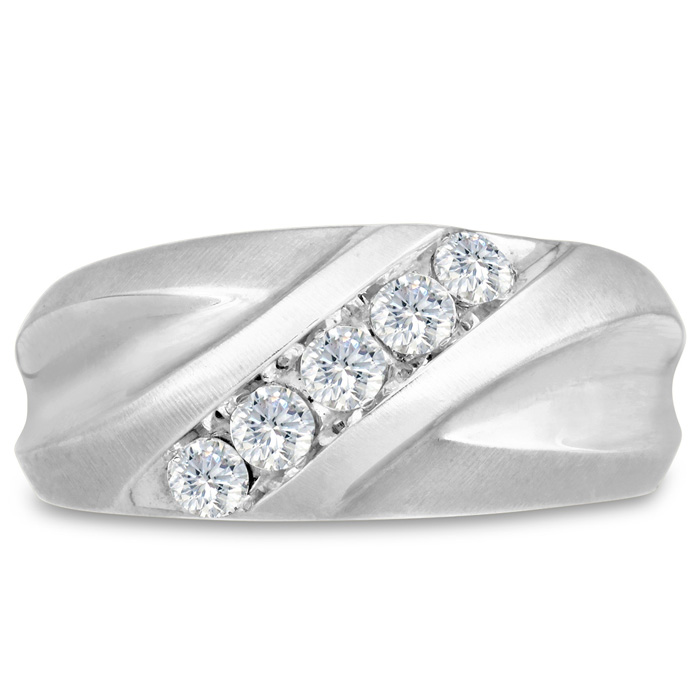 Mens 1/2 Carat Diamond Wedding Band in 10K White Gold, G-H, I2-I3, 10.34mm Wide by SuperJeweler