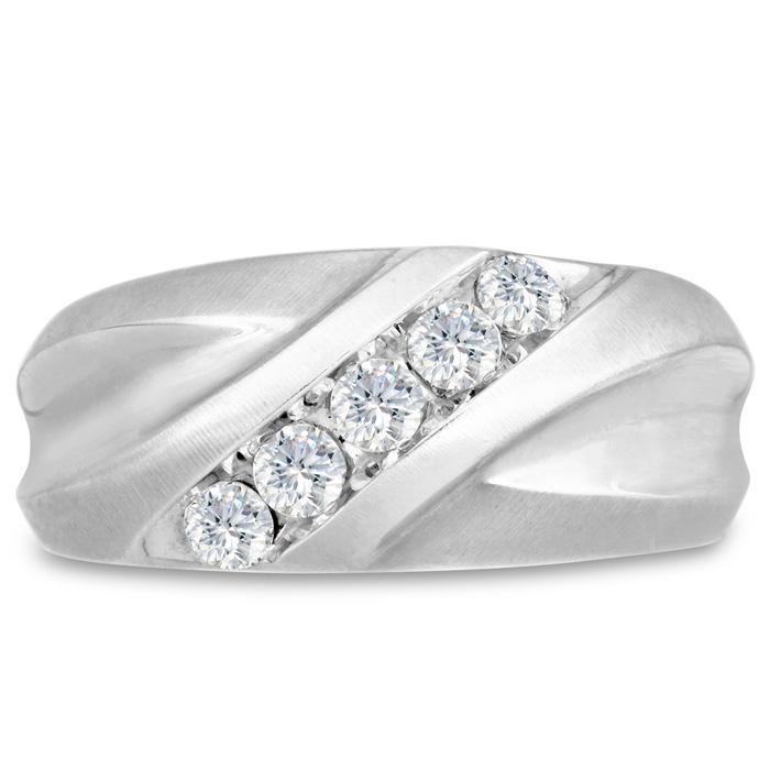 Mens 1/2 Carat Diamond Wedding Band in 10K White Gold, I-J-K, I1-I2, 10.34mm Wide by SuperJeweler