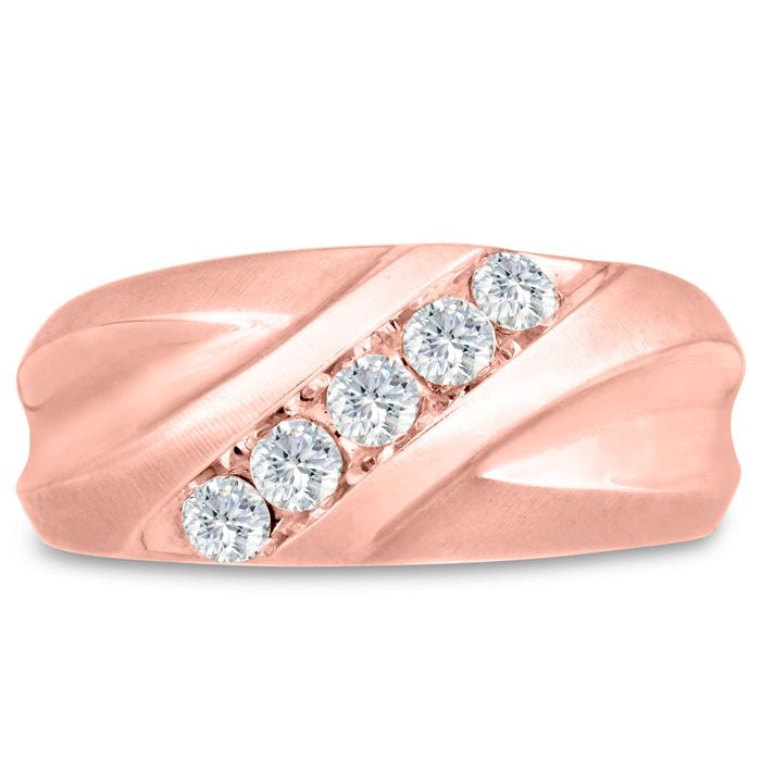 Mens 1/2 Carat Diamond Wedding Band in 14K Rose Gold, G-H, I2-I3, 10.34mm Wide by SuperJeweler