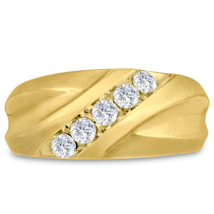 Mens 1/2 Carat Diamond Wedding Band in 14K Yellow Gold, I-J-K, I1-I2, 10.34mm Wide by SuperJeweler