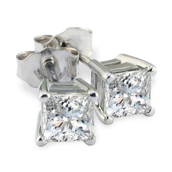 3/4 Carat Diamond Stud Earrings in 14k White Gold H/I, SI by Hans