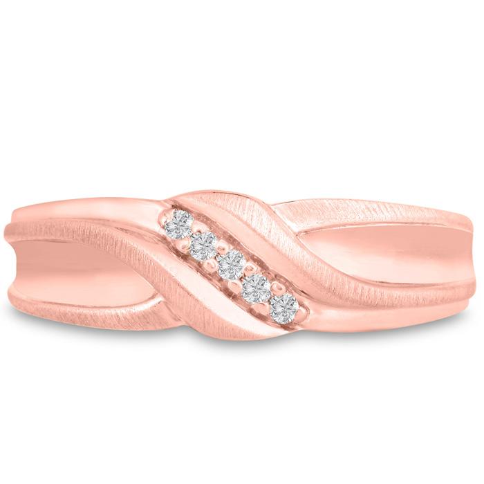 Mens 1/10 Carat Diamond Wedding Band in 10K Rose Gold, I-J-K, I1-I2, 6.35mm Wide by SuperJeweler