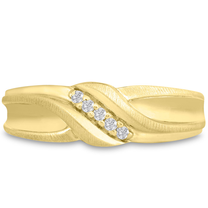 Mens 1/10 Carat Diamond Wedding Band in 10K Yellow Gold, I-J-K, I