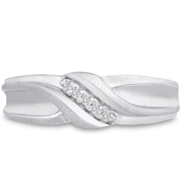 Mens 1/10 Carat Diamond Wedding Band in 14K White Gold, G-H, I2-I