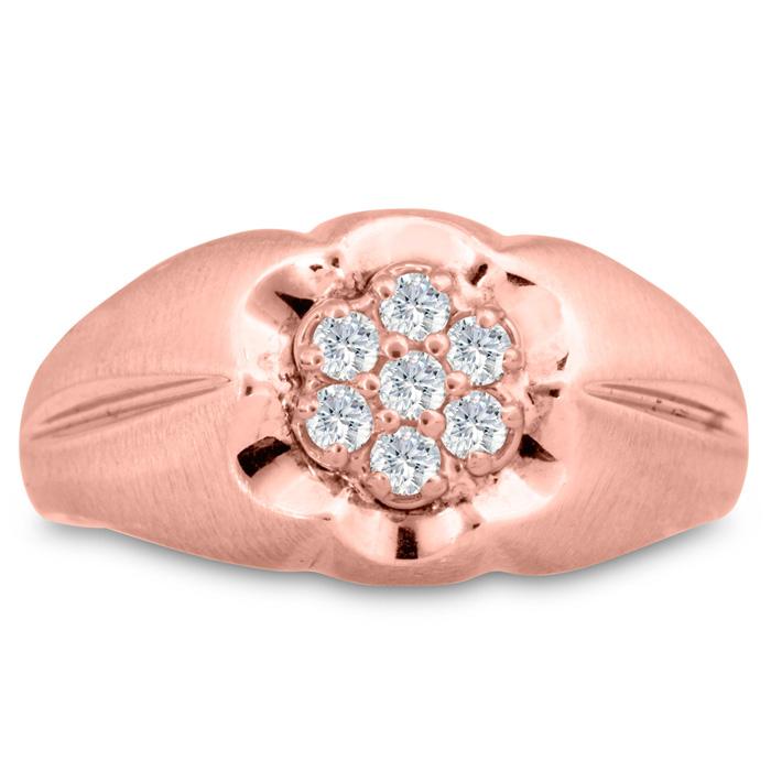 Mens 1/4 Carat Diamond Wedding Band in 10K Rose Gold, G-H, I2-I3, 11.55mm Wide by SuperJeweler