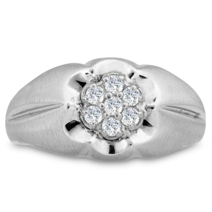 Mens 1/4 Carat Diamond Wedding Band in 10K White Gold, G-H, I2-I3, 11.55mm Wide by SuperJeweler