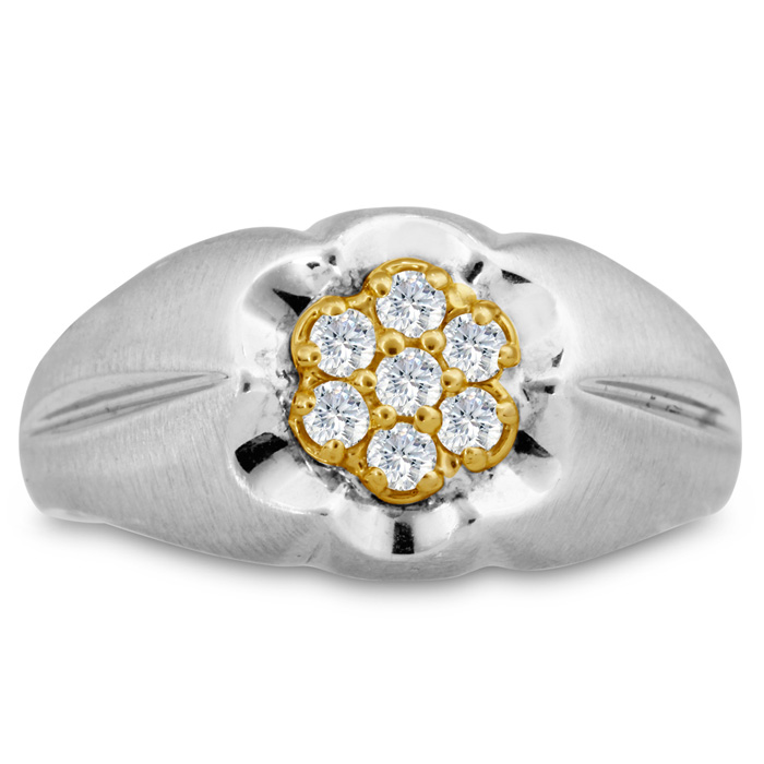 Mens 1/4 Carat Diamond Wedding Band in 14K Two-Tone Gold, I-J-K,