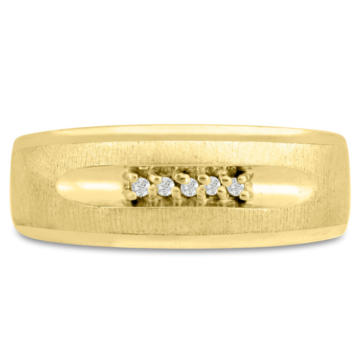 Mens 1/10 Carat Diamond Wedding Band in 10K Yellow Gold, G-H, I2-I3, 8.36mm Wide by SuperJeweler
