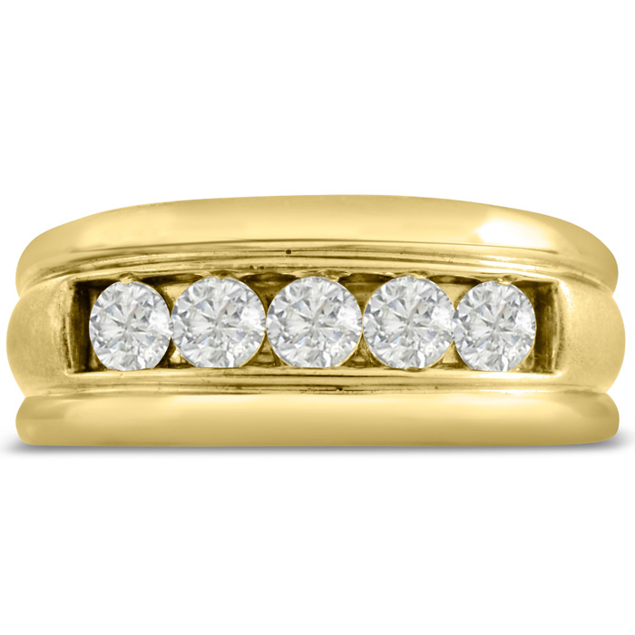 Mens 1 Carat Diamond Wedding Band in 10K Yellow Gold, G-H, I2-I3, 9.65mm Wide by SuperJeweler