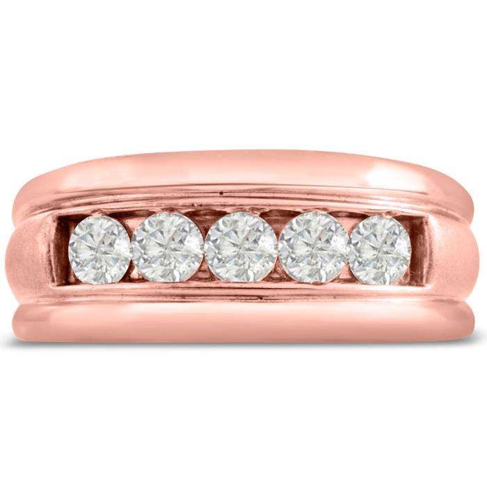Mens 1 Carat Diamond Wedding Band in 14K Rose Gold, I-J-K, I1-I2, 9.65mm Wide by SuperJeweler