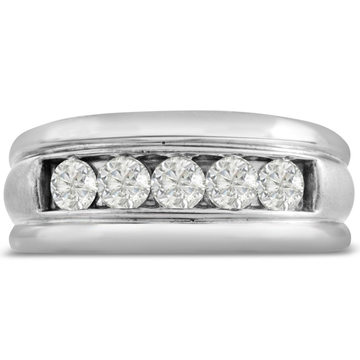 Mens 1 Carat Diamond Wedding Band in 14K White Gold, I-J-K, I1-I2