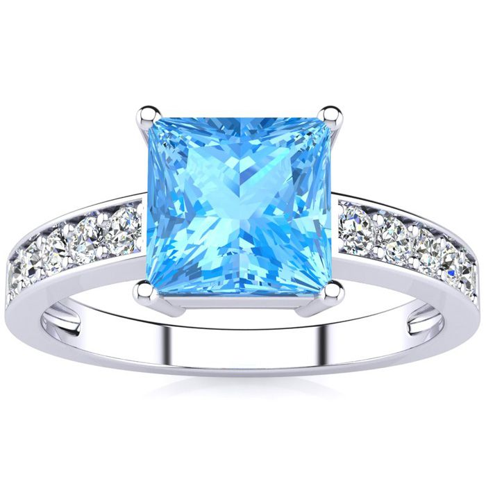 Square Step Cut 1 7/8 Carat Blue Topaz & Diamond Ring in 14K White Gold (3.40 g), I/J by SuperJeweler