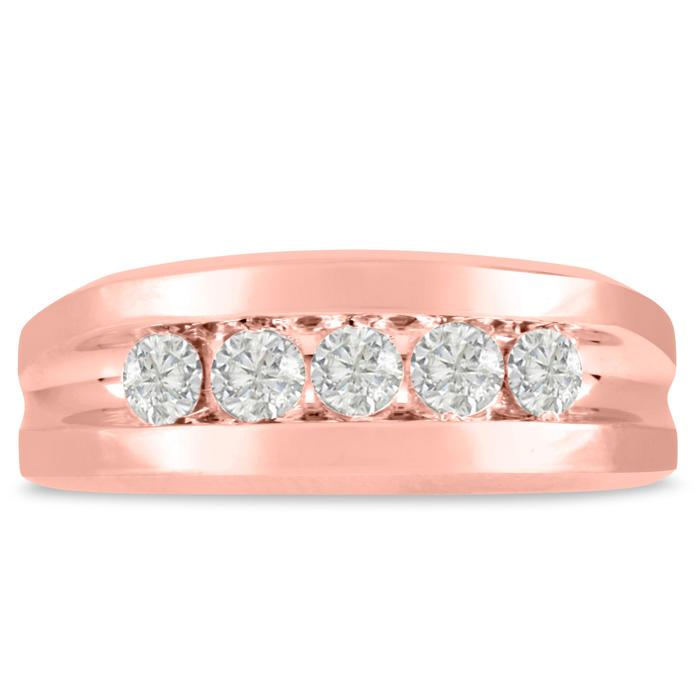 Mens 3/4 Carat Diamond Wedding Band in 10K Rose Gold, I-J-K, I1-I2, 8.29mm Wide by SuperJeweler