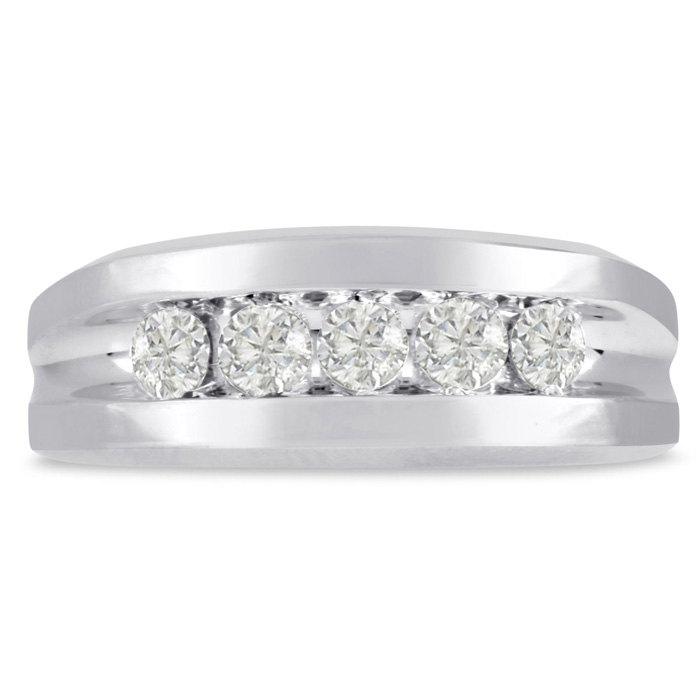 Mens 3/4 Carat Diamond Wedding Band in 10K White Gold, G-H, I2-I3