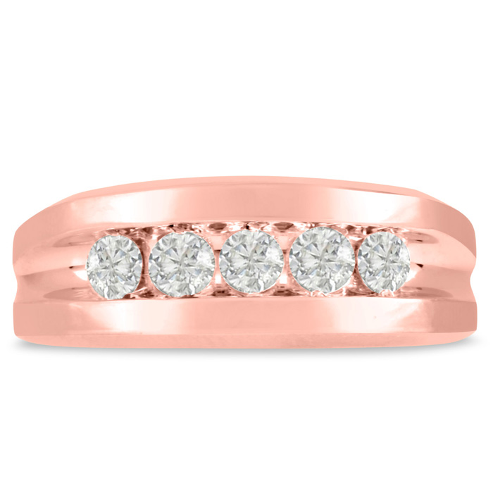 Mens 3/4 Carat Diamond Wedding Band in 14K Rose Gold, I-J-K, I1-I2, 8.29mm Wide by SuperJeweler