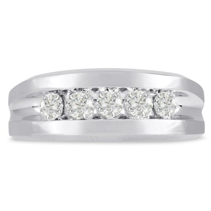 Mens 3/4 Carat Diamond Wedding Band in 14K White Gold, G-H, I2-I3
