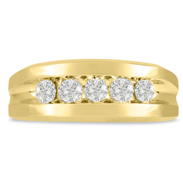 Mens 3/4 Carat Diamond Wedding Band in 14K Yellow Gold, G-H, I2-I
