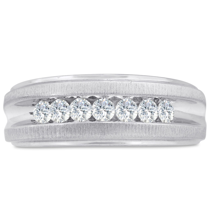 Mens 1/2 Carat Diamond Wedding Band in 10K White Gold, G-H, I2-I3