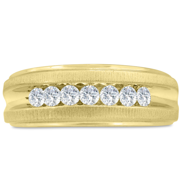 Mens 1/2 Carat Diamond Wedding Band in 10K Yellow Gold, I-J-K, I1-I2, 8.49mm Wide by SuperJeweler