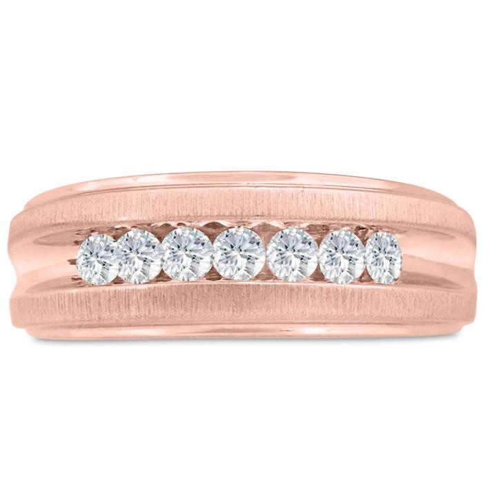 Mens 1/2 Carat Diamond Wedding Band in 14K Rose Gold, G-H, I2-I3, 8.49mm Wide by SuperJeweler