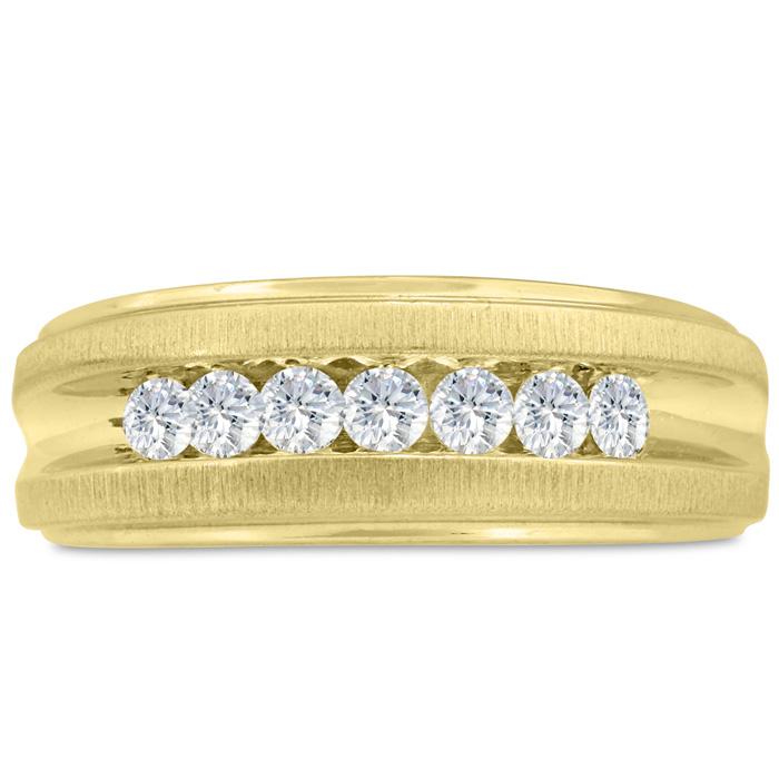 Mens 1/2 Carat Diamond Wedding Band in 14K Yellow Gold, I-J-K, I1-I2, 8.49mm Wide by SuperJeweler