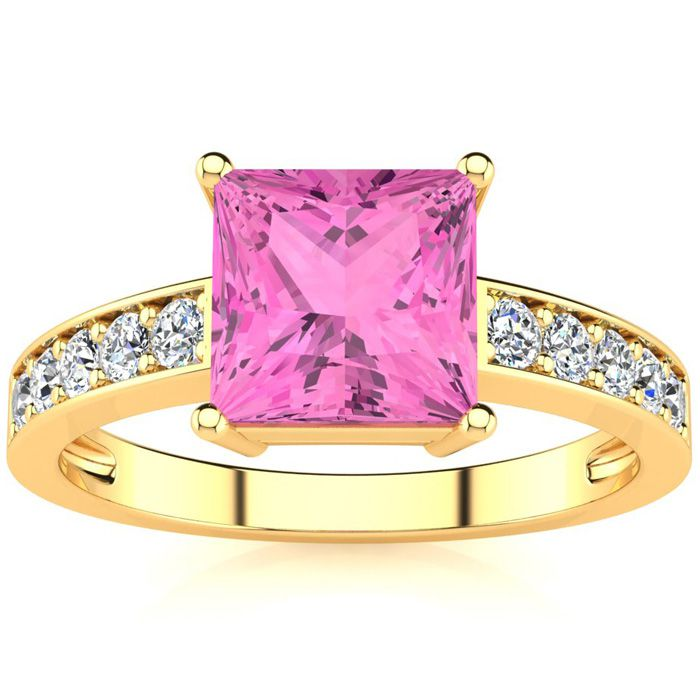 Square Step Cut 1 7/8 Carat Pink Topaz & Diamond Ring in 14K Yell